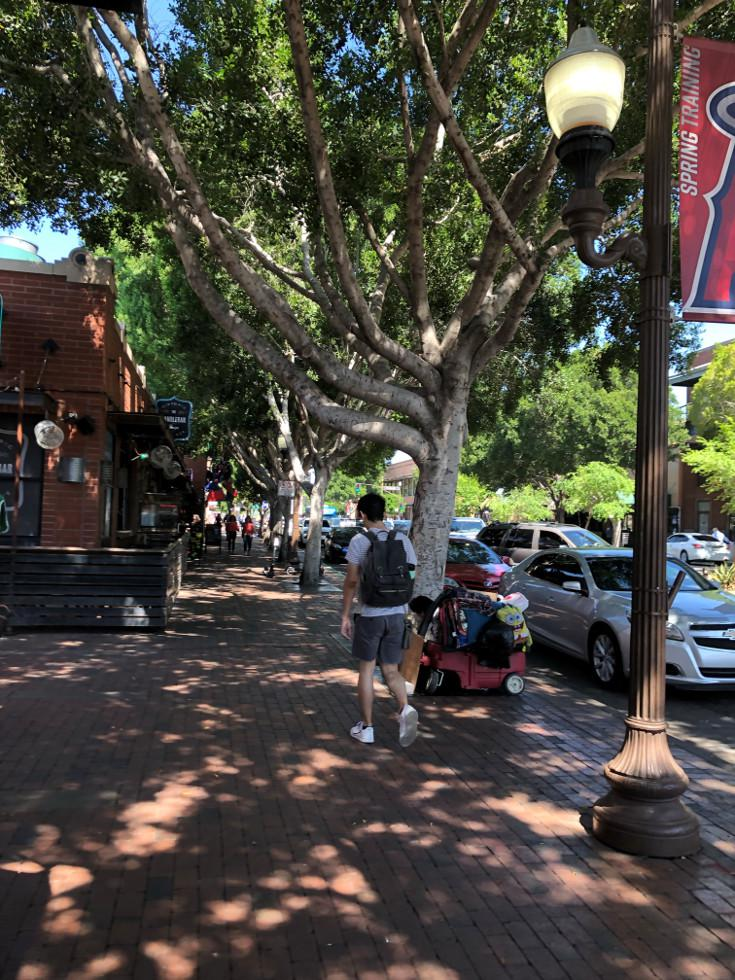 Walking in downtown Tempe